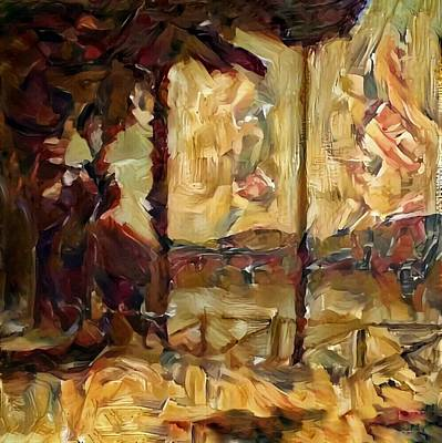 Painting - A Chance In The World Movie Golden Glowing Master Museum Artwork In Green Brown Yellow Gold With Fence Trees And Mountain Plantation Lake In Warm Earth Colors by MendyZ
