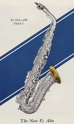 Celebrities Drawing - A Charles Gerard Conn Eb Alto Saxophone by American School
