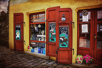 A Charming Little Store In Bratislava Print by Carol Japp