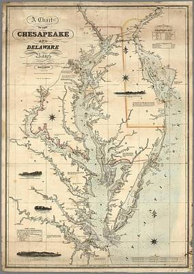 Painting - A Chart Of The Chesapeake And Delaware Bays 1862 by Celestial Images
