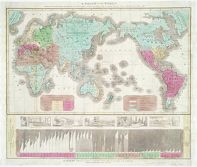 Photograph - A Chart Of The World Exhibiting The Prevailing Religion And Population Of The Present Empires by Lf