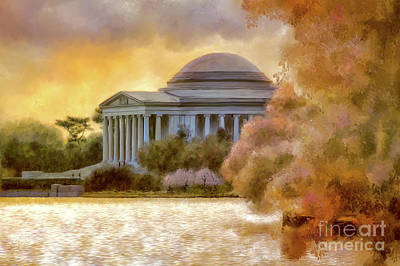 Jefferson Memorial Digital Art - A Cherry Blossom Sunset by Lois Bryan