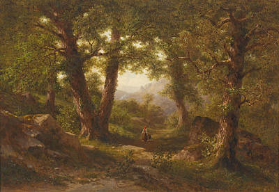 Painting - A Chestnut Grove, Scene From Montan In Tyrol by Gottfried Seelos