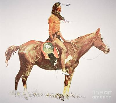 Remington Painting - A Cheyenne Brave by Frederic Remington