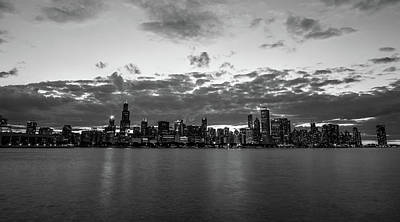 Night Photograph - A Chicago Night In Black And White by Med Studio