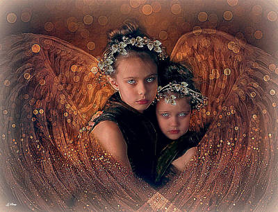 Little Girls Mixed Media - A Child's Angel by G Berry