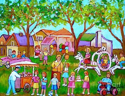 A Child's Birthday Party Backyard Fun Canadian Paintings Carole Spandau Art Print by Carole Spandau