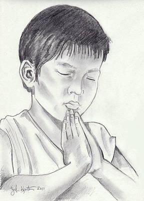 Drawing - A Child's Prayer by John Keaton