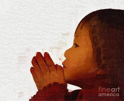 Child Praying Painting - A Childs Prayers Are From The Heart by Deborah MacQuarrie-Selib