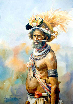 Papua Painting - A Chimbu Man Png by Aung Win