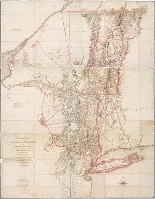 Photograph - A Chorographical Map Of The Province Of New York In North America Divided Into Counties Manors by Lf