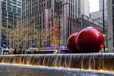 Photograph - A Christmas Card From New York City - Two Giant Red Balls And Radio City Music Hall by Georgia Mizuleva