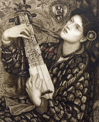 Lute Drawing - A Christmas Carol by Dante Gabriel Charles Rossetti