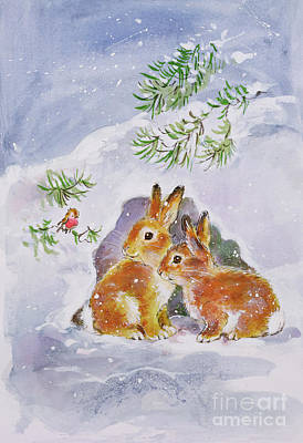 Winter Fun Painting - A Christmas Message by Diane Matthes