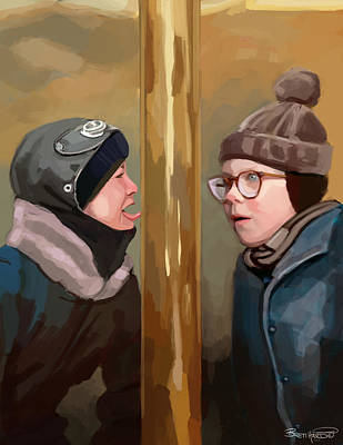 Painting - A Christmas Story Tongue Stuck To Pole by Brett Hardin