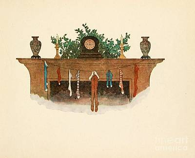 Painting - A Christmas Victorian Fireplace by R Muirhead Art