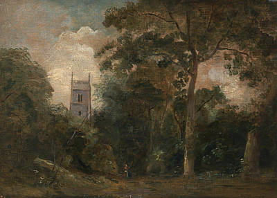 English Church Painting - A Church In The Trees by John Constable