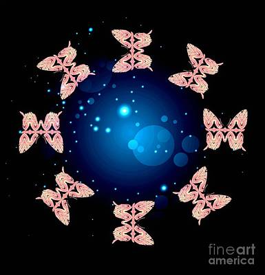 Digital Art - A Circle Of Life Pink On Black With Blue by Rachel Hannah