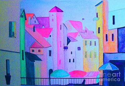 Painting - A City At Night by Hazel Holland