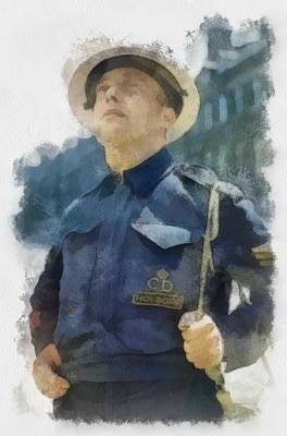 Warden Painting - A Civil Defence Warden In London Wwii by Esoterica Art Agency