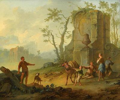 A Classical Landscape With A Family Resting By The Ruins Art Print