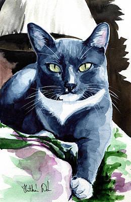 Painting - A Classy Blue Tuxedo - Cat Portrait by Dora Hathazi Mendes