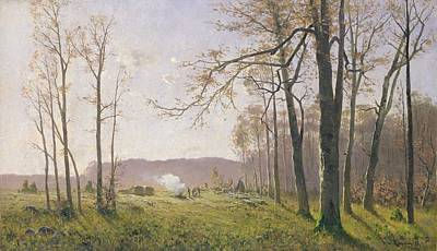 Woodsmen Painting - A Clearing In An Autumnal Wood by Max Kuchel