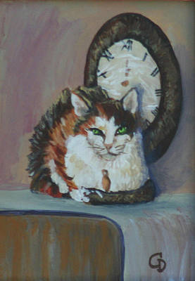 Gail Daley Wall Art - Painting - A Clockwork Cat by Gail Daley