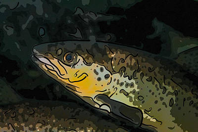 Painting - A Close Up Of A Rainbow Trout by Jeelan Clark