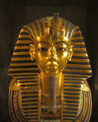 A Close View Of The Gold Funerary Mask Print by Kenneth Garrett