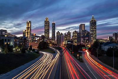 Photograph - A Closer View Atlanta Nite Lights 9 Atlanta Sunset Cityscape Art by Reid Callaway
