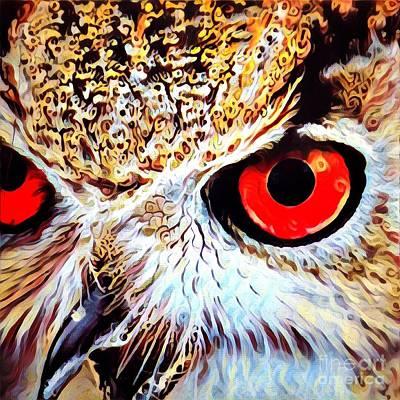 Eye Digital Art - A Closeup Of The Eyes Of An Owl by Amy Cicconi