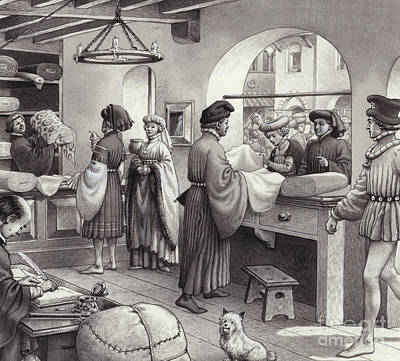 Black Commerce Painting - A Cloth Merchant's Shop In Renaissance Italy by Pat Nicolle