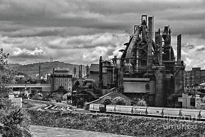 Photograph - A Cloudy Day At The Steel Mill In Black And White by Paul Ward