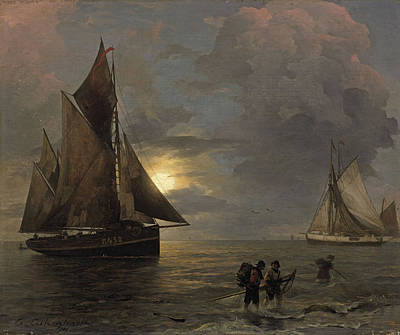 Andreas Achenbach Painting - A Coastal Landscape With Sailing Ships By Moonlight by Andreas Achenbach