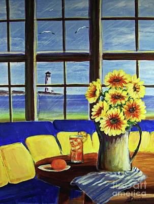 A Coastal Window Lighthouse View Art Print by Patricia L Davidson