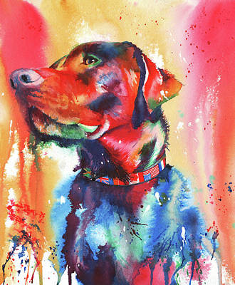Painting - A Coat Of Many Colours - Labrador by Peter Williams
