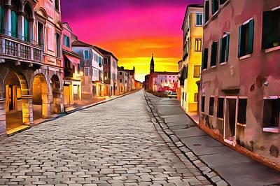 A Cobblestone Street In Venice Art Print