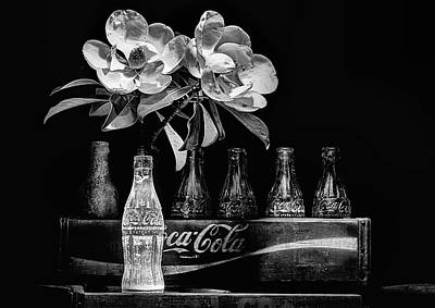 Photograph - A Coke And Magnolia Still Life Black And White by JC Findley