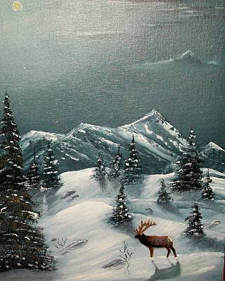 Painting - A Cold Montana Night by Al  Johannessen