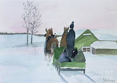 Painting - A Cold Ride by Christine Lathrop