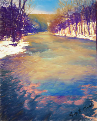 Digital Art - A Cold Snowy River Landscape. by Rusty R Smith