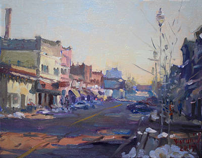 City Village Painting - A Cold Sunny Day At Webster St by Ylli Haruni
