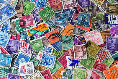 A Collection Of Used Us Postage Stamps Off Paper Art Print