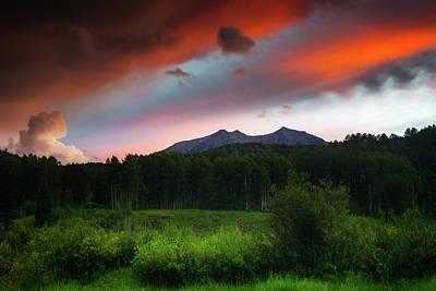Art Print featuring the photograph A Colorado Mountain Sunset by John De Bord