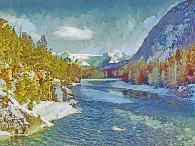 Digital Art - A Colorado Rocky Mountain Stream In Winter by Digital Photographic Arts