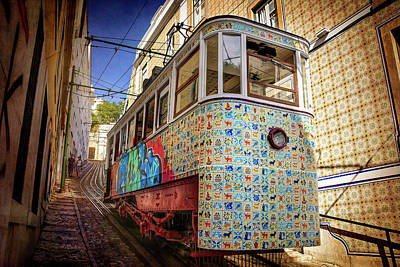 Mosaic Photograph - A Colorful Lisbon Tram  by Carol Japp