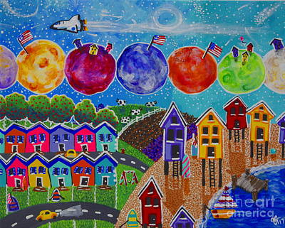 Painting - A Colorful World Village Beach Space Shuttle Planets Stars Boats Cows Homes Ocean Farms Flags  by Jackie Carpenter