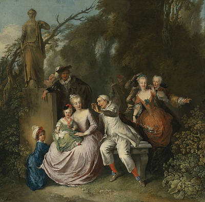 Painting - A Comedic Performance In A Park Setting by Christian Wilhelm Ernst Dietrich