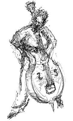 Bass Player Drawing - A Complete Musician by Sam Chinkes